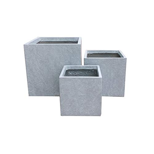 Kante RF0001ABC-C60611 Lightweight Concrete Modern Square Outdoor Planter, Slate Gray