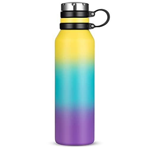 Borraccia Termica 750 ml, Senza BPA, Bottiglia Acqua in Acciaio Inox Sottovuoto a Doppia Parete, per Campeggio di Sport Esterni Escursionismo Escursioni in Bicicletta (Giallo Blu Viola)
