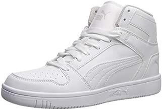 PUMA Unisex-Kid's Rebound Layup Sneaker, White Black-Gray Violet, 4 M US Big Kid