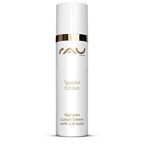 RAU Cosmetics Hyaluron Luxury Tagescreme mit 23k Gold (50 ml) - Tagespflege für dein Gesicht mit Aufpolsteurngseffekt - Hyaluron, Avocadoöl, Shea Butter, Squalane - Made in Germany