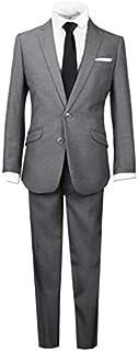 Black n Bianco Boys Signature Slim Suit, Dark Gray (Charcoal), 16