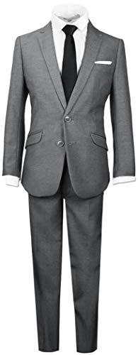 Black n Bianco Boys Signature Slim Suit in Dark Grey Size 12