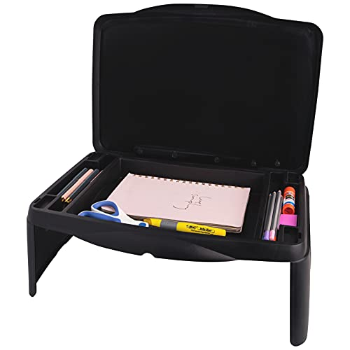 Folding Lap Desk, Laptop Desk, Breakfast Table, Bed Table, Serving Tray - The lapdesk Contains Extra Storage Space and dividers & Folds Very Easy, Great for Kids, Adults, Boys, Girls, (Black)