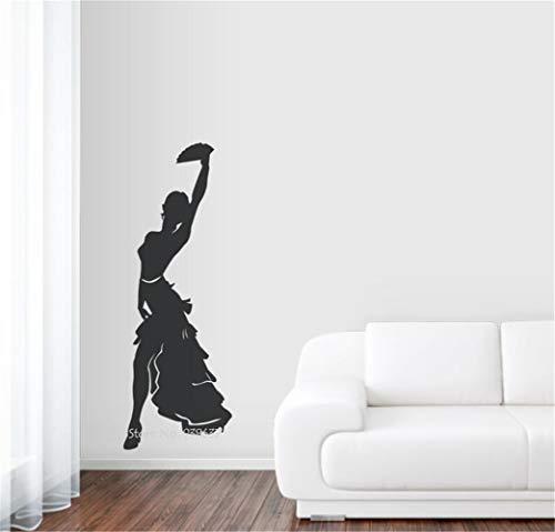 Wandaufkleber 3D Spiegel Weibliche Tango-Tänzerin für Tanzstudio-Dekorations-Schattenbild-Abziehbilder für Tanzraum-Mädchenschlafzimmer