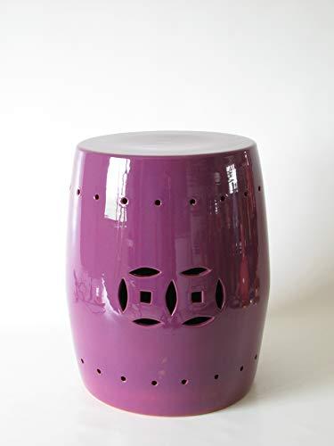 POLONIO - Puff de Ceramica Morado de 42,5cm Alto - Taburete de Ceramica para Salón o Jardin - Mesa de Ceramica Color Morado