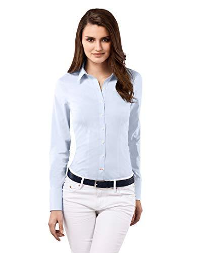 Vincenzo Boretti Damen Bluse besonders tailliert mit Stretch Langarm Hemdbluse elegant festlich Kent-Kragen auch für Business und unter Pullover eisblau 38