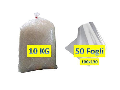 50 FOGLI CELLOPHANE 100x130cm 25my +10 KG TRUCIOLO POLIPROPILENE TRASPARENTE Paglia sintetica per ceste natalizie e confezioni regalo