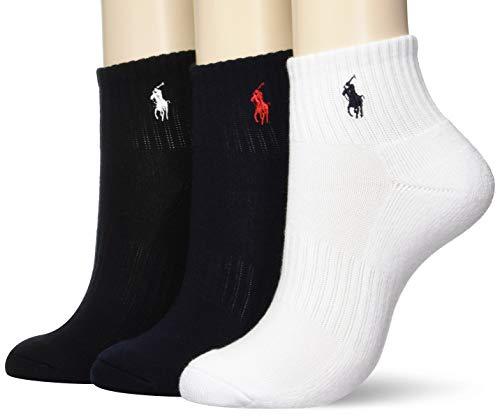 [ポロラルフローレン] POLO RALPH LAUREN レディース 靴下 (3足セット) コットン ショート ソックス [日本正規品] [3246-904] ホワイト グレー ブラック [23cm 24cm 25cm]