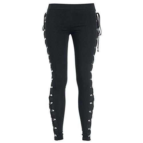 Yowablo Leggings Damen Cool Ultra Gathered Pants Gothic Rocker Distressed Punk Tie (XL,2Schwarz)