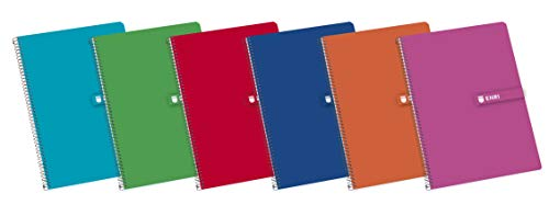 Enri Cuadernos A5, Tapa Dura, 80 Hojas, Cuadrícula 4x4, Pack 5 unidades, Surtido colores aleatorios