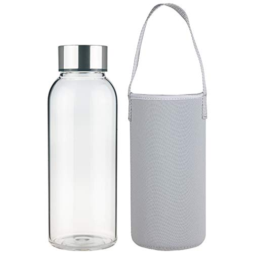 FCSDETAIL Botella de Agua de Cristal sin BPA, Botella de Agua de Vidrio de Borosilicato con Funda de Neopreno y Tapa de Acero Inoxidable 1500ml