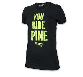 Camiseta estampada de algod¨®n semi-ajustada para mujer (negro / verde, grande)
