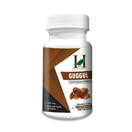 H&C Shudh Guggul Capsules (Commiphora wightii) - 900mg, 120 Counts (2 Months Supply) - Dietary Supplements