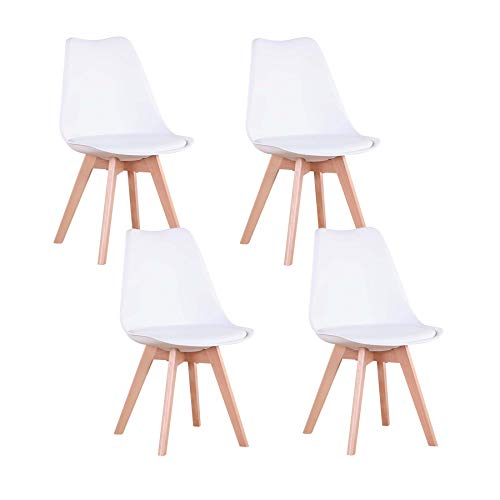 N / A Set di 7 Eiffel sedie da Tulip, sedie da Pranzo, Seduta Imbottita Morbida, Sedia Stile Nordico Schienale ergonomico (Bianco)