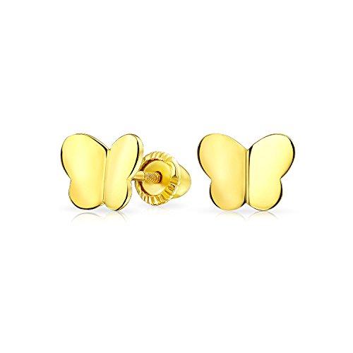 Minimalista Pendiente De Boton Mariposas Suerte Para Mujer Adolescente Para Novia Real Screwback Oro Amarillo 14K