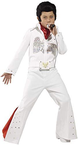 Smiffys 36104L- Traje de Elvis para nios , traje y bufanda, blanco, L - Edad 10-12 aos