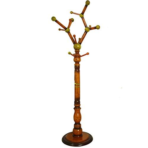 MKVRS Perchero de pie Perchero Piso sólido Escudo árbol de Madera Puerta de Entrada Hall Tree con Base Redonda sólida for el Sombrero, Ropa, Bufandas Perchero Percheros (Color : A)