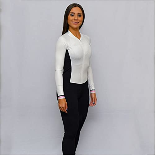 Damen Fahrradtrikot Set Langarm Hosen Gel Jumpsuit Radfahren Triathlon Sportswear Overalls (Color : 3371, Size : XXS)