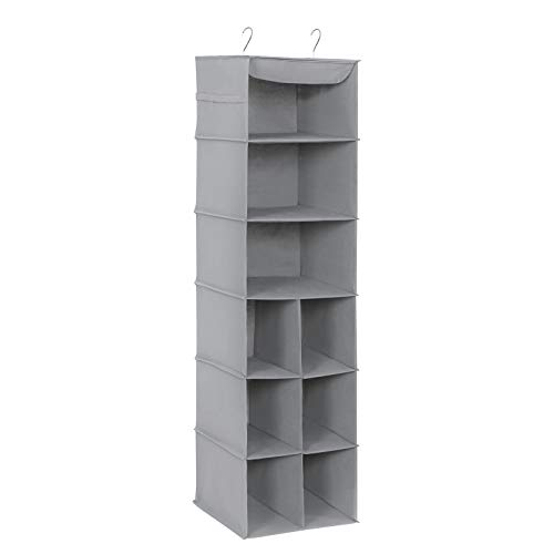 SONGMICS Hanging Storage Shelves for Different Sizes of Shoes, Wardrobe Storage Organiser with 9 Compartments, Hanging Shoe Bag with Strong Metal Support, Grey, RCH05G