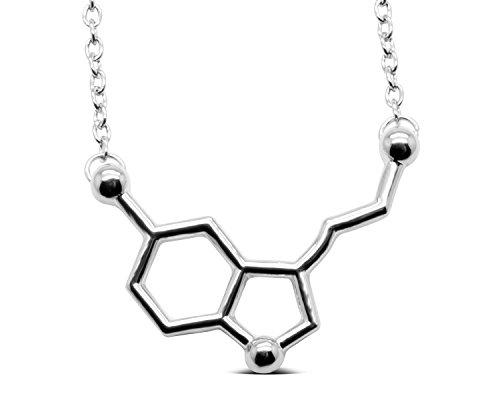 Serebra Jewelry Serotonina Molécula Colgante Collar | aleación Color Plata, Oro, Oro Rosa | by (Plata)
