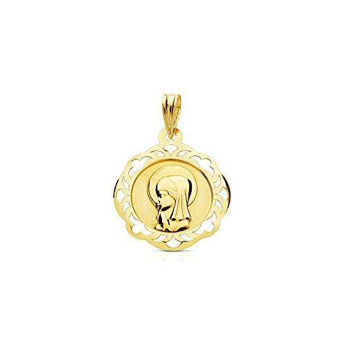 Medalla Oro Virgen Niña cerco calado