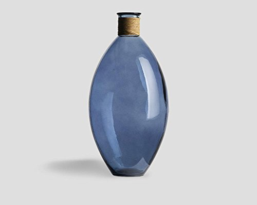 Dialma Brown Vase Bodenvase Emma Glas mit Kordel Ultramarin tiefblau XL - Maße: 59 x 29 x 29 cm (H x L x T)