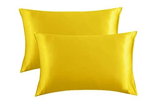 Essencea Gelbe Satin-Kissenbezüge, 30,5 x 45,7 cm, 2 Stück