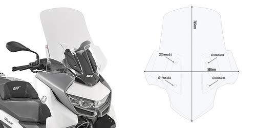 Givi - Parabrisas para pantalla de visera, cortavientos + fijaciones Givi compatible con BMW C 400 GT 2019 moto scooter