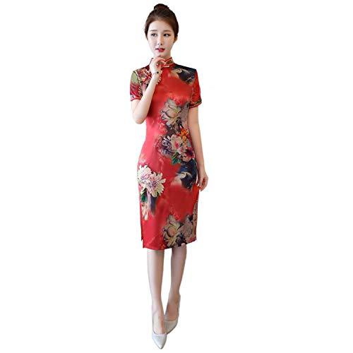 Reveryml Mujer Vestido de Estilo Chino Vintage Qipao Cheongsam Oriental Vestido Chino Tradicional Ropa para Mujer