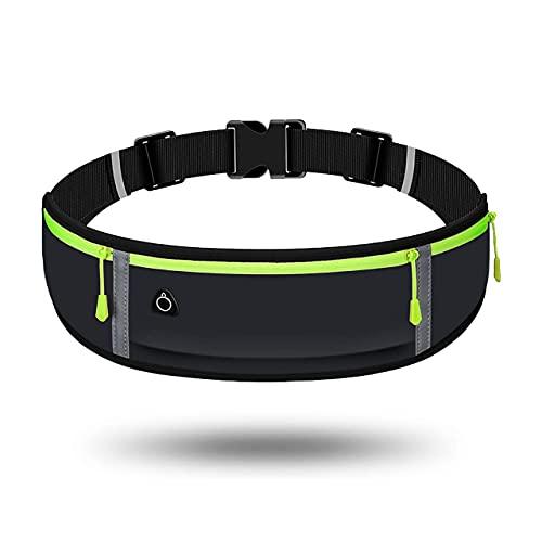 Running Belt with Adjustable Reflective Strap Sweatproof Multi-Pocket Fit...