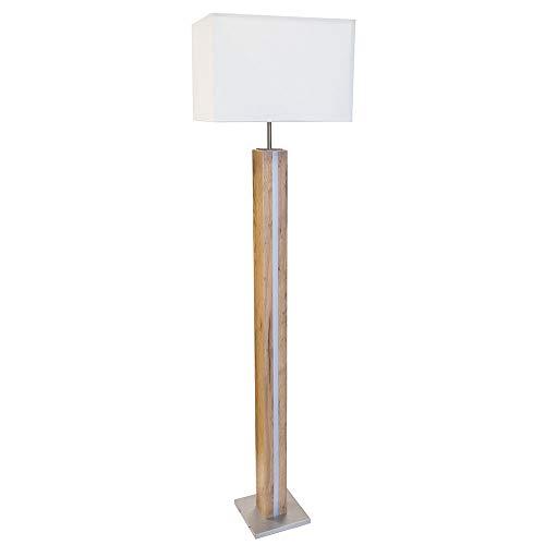 LED Holz Steh Leuchte DIMMBAR Wohn Zimmer Beleuchtung Design Beistell Textil Lampe weiß eichefarben