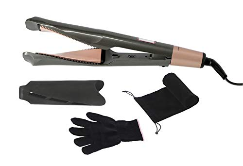 KREXUS Haarglätter und Lockenstab 2-in-1 – LCD, Temperaturregelung, Mikrokämme, Keramik - Glätteisen Haare Locken - 45 W, EX9101