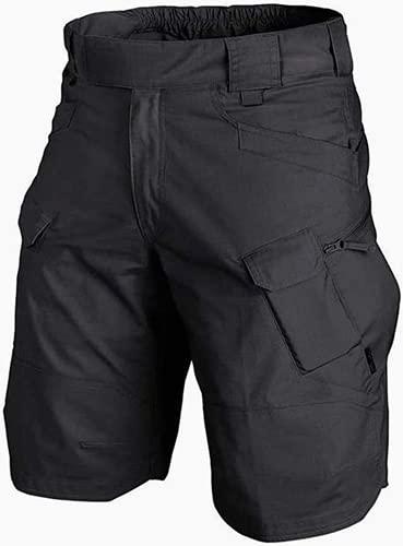 Pantalones cortos tácticos para hombre al aire libre, cómodos y transpirables con bolsillos con cremallera, para acampar y actividades de viaje (4XL, negro)