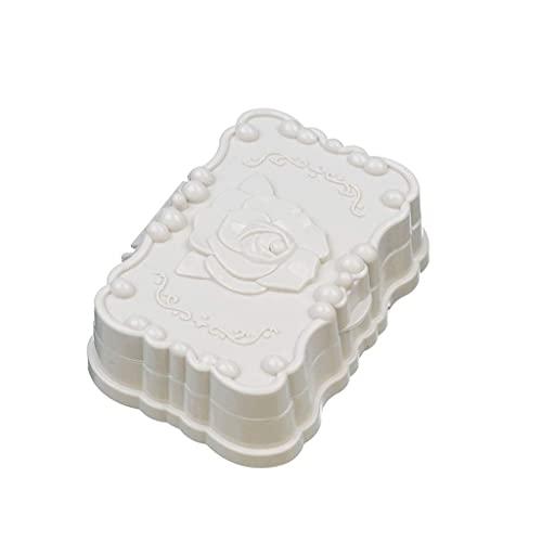 Caja de jabón Duradera Nueva Caja de jabón de Flores de Viaje Plato de baño Cubierta de Ducha Soporte de jabón Fácil de Llevar Caja de jabón Contenedor de jabón Jabonera Jabonera (Color: Beige)