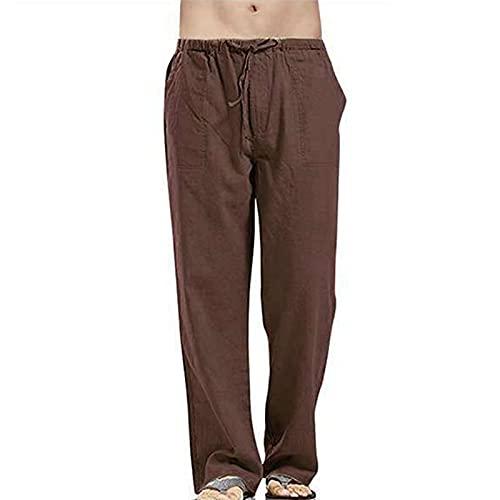 LUCSUN Pantalones de playa de verano de los hombres de algodón de lino suelto abierto abajo Jogger Pantalones Casual con cordón