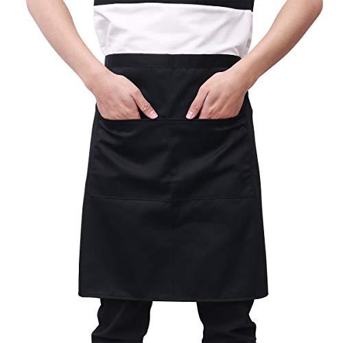 BESTOMZ Küchenschürze - Grillschürze Taille Schürze Kurze Schürze Kellner Schürze mit Doppel Taschen (schwarz)