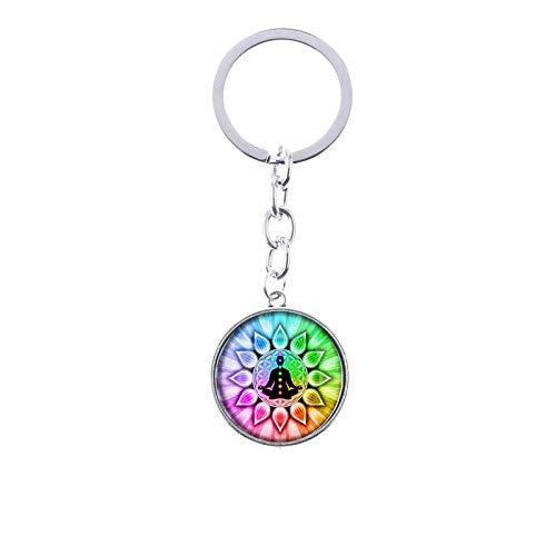 Schlüsselanhänger mit Kreis, Chakra-Heilung, Meditation, Buddha, Balance, Yoga, mit Regenbogen-Details und Silberkette