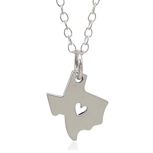 Sterling Silver Heart of Texas State Flat Charm Necklace, 18'