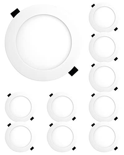 HAGEMANN® 10 x LED Panel rund dimmbar 9 Watt 810lm – Ø 135mm Bohrloch – 230V flache LED Spots
