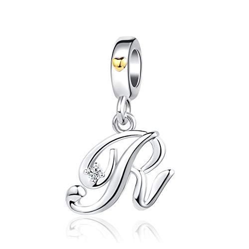 KunBead Dangle Alphabet Initial R Letter Charms Big Sis Lil Sis Sister Crystal Beads Birthday Charms