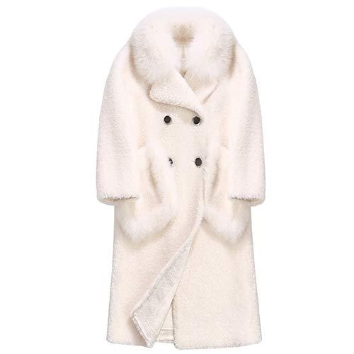 47-B Abrigo de mujer con cuello de piel de oveja, abrigo de piel, pelo largo de cordero, piel (color: blanco, tamaño: mediano)