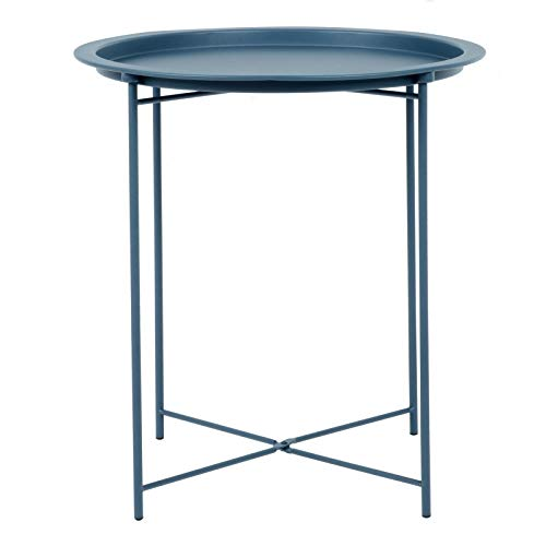 Hodge and Hodge Round Metal Folding Side Table Tray Top Light Portable Coffee Night Stand Dark Blue