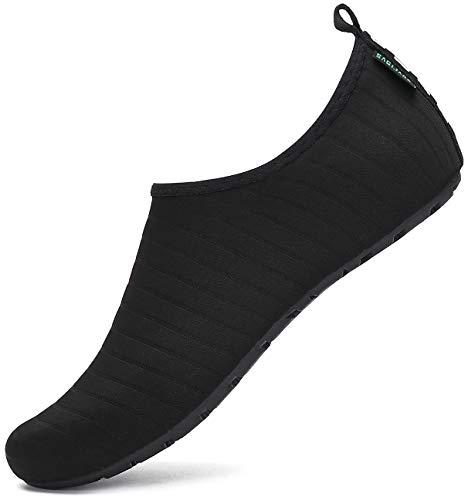 SAGUARO Escarpines Hombre Mujer para Buceo Snorkel Surf Natación Piscina Vela Mares Rocas Río Zapatos para Agua Calzado Playa Zapatillas Deportes Acuáticos (033 Negro,44/45 EU)