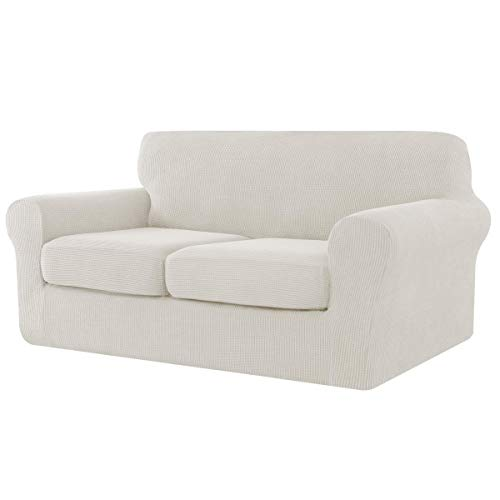 CHUN YI Corprisofá - Funda elástica con funda de cojín separada, funda de sofá de 2 plazas con 2 fundas de cojín para salón, para proteger el sofá (2 plazas), color marfil