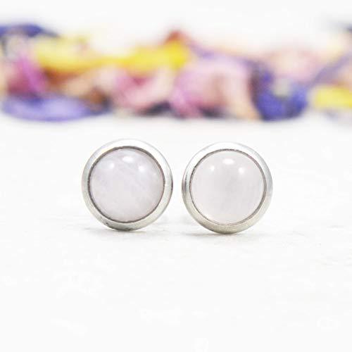 6mm Grey Hematite Hypoallergenic Surgical Steel Unisex Stud Earrings Little Gems Jewels