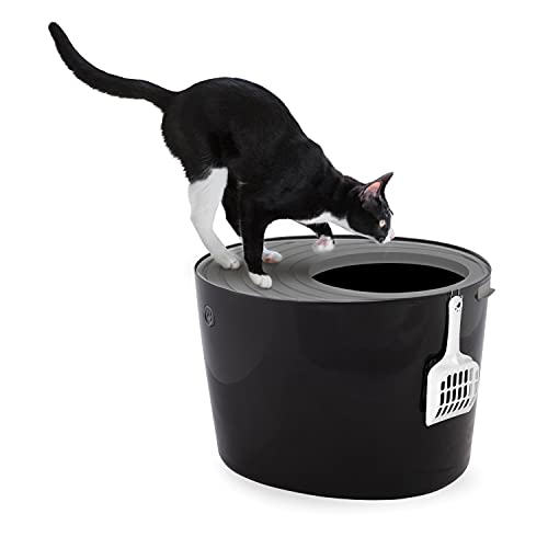Iris Ohyama, Lettiera per gatti scanalata, entrata superiore e pala - Top Entry Cat Litter Box - PUNT-530, plastica, nero, 50, 8 x 35, 5 x 35, 5 cm