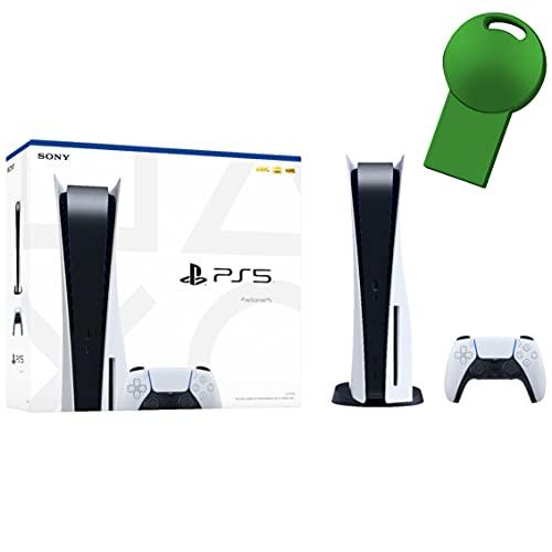 Sony PS5 Playstation 5 Console Disc Version + 1 Wireless Controller, x86-64-AMD Ryzen Zen 8 Cores CPU, 16GB GDDR6 Memory, 825GB SSD Storage, 120Hz 8K Output - 64GB Green USB_Flash_Drive
