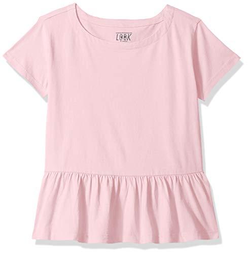 LOOK by Crewcuts - Camiseta de manga corta para niñas con diseño peplum, Rosado, 8