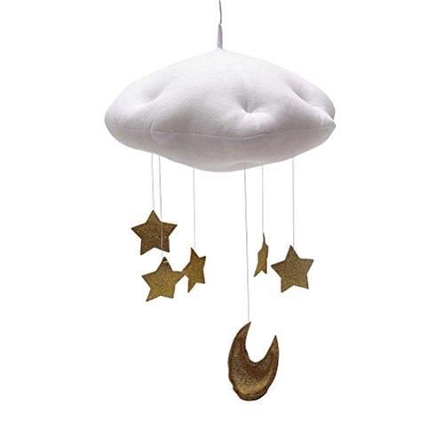 Toyvian Bebé Vivero Techo Cuna móvil Nubes móviles Luna Estrellas Techo Colgante Decoraciones Habitación de los niños Decoración de la Ducha de bebé Nubes Blancas y Estrellas Doradas