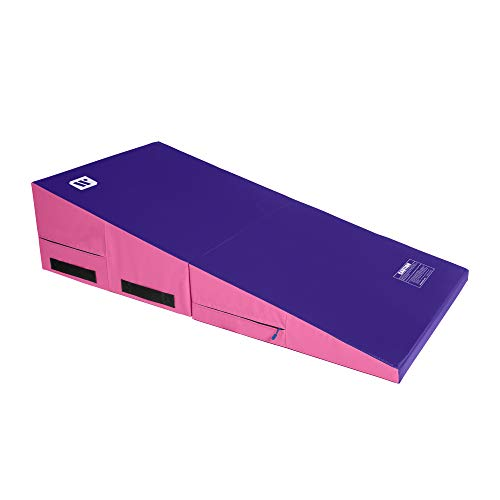 We Sell Mats Gymnastics Incline Mat, Folding and Non-Folding Cheese Wedge Skill Shape, Tumbling Mat for Gymnastics Training, Cheerleading and Obstacle Courses, Purple / Pink, 60' x 30' x 15' - Medium